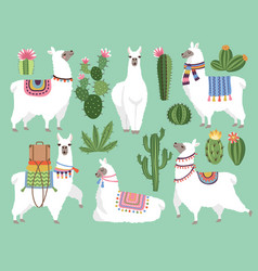 set of animals llama and alpaca vector image