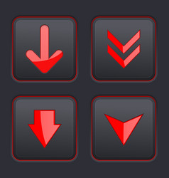 Set of black square buttons with red down arrows vector