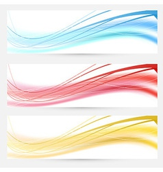 Set of bright abstract wave lines cards vector