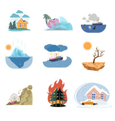 Set of catastrophe icons and outdoor natural vector