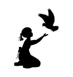 silhouette girl bird pigeon world vector image