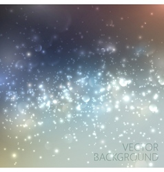 Silver sparkling background with glowing sparkles vector image