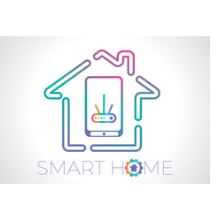 smart home concept flat logo vector image