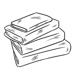 stack of books sketch sticker doodle vector image