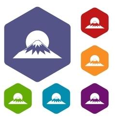 Sun and mountain icons set vector