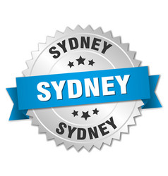 Sydney round silver badge with blue ribbon vector