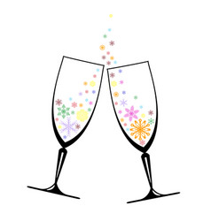 two glasses with snowflakes vector image