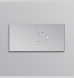 Two piece puzzle 2 step jigsaw object puzzle vector