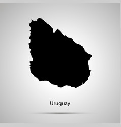 uruguay country map simple black silhouette vector image