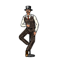 Victorian man vintage whiskey strong alcohol vector