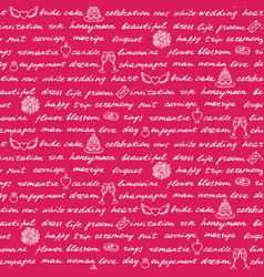 wedding lettering seamless pattern vector image
