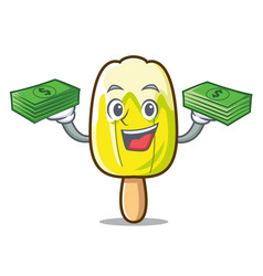 With money bag lemon ice cream mascot cartoon vector