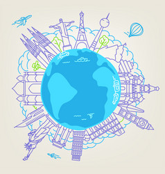 World travel concept linear vector