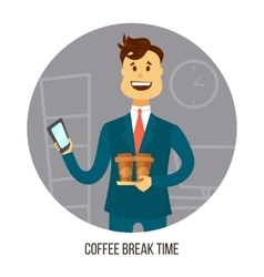 Young businessman or office worker with two cups vector image