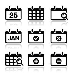 Calendar date icons set vector