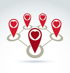 Connected map pointers with a loving heart icon vector
