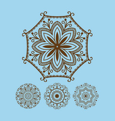 Henna tattoo brown mehndi flower template doodle vector