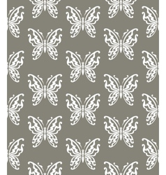 Seamless background of butterflies gray and white vector image