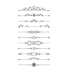 Vintage filigree dividers set isolated on white vector image