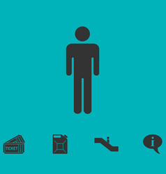 man standing silhouette icon flat vector image