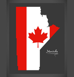 Manitoba canada map with canadian national flag vector