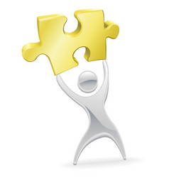 metal mascot holding up a jigsaw puzzle piece vector image