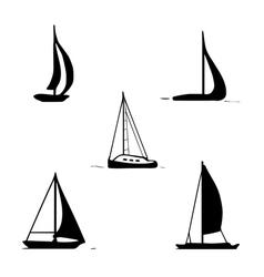 ocean transport set sailing boats yacht motor boat vector image vector image