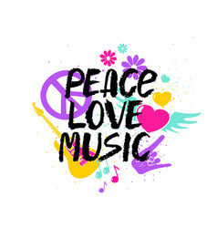peace love music lettering with symbols vector image