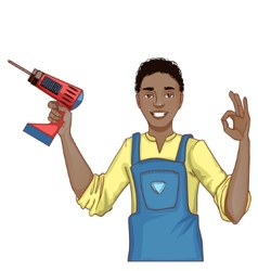 Young handsome African American man with drill vector image