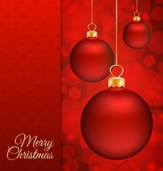 Christmas balls and Red abstract background vector image