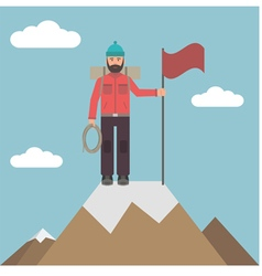 Climber on top vector image vector image