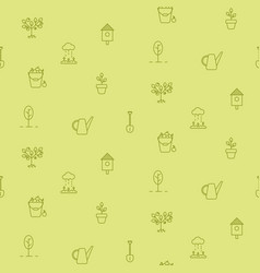 horticulture line icons seamless pattern vector image