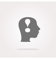 Human head with exclamation mark icon web vector image