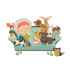 Old woman with her cats and dogs vector image vector image