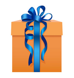 orange gift box with a blue ribbon icon flat style vector image vector image