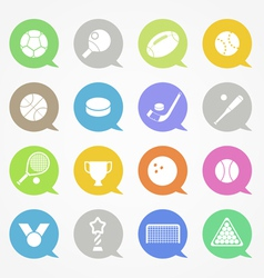 Sports web icons set in color speech clouds vector image vector image