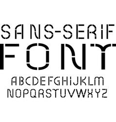 Black sans-serif modern font on white background vector image vector image