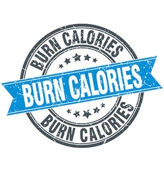 Burn calories blue round grunge vintage ribbon vector