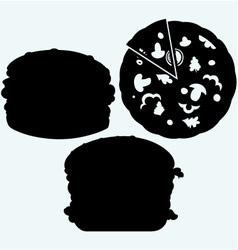 Circular cut pizza and hamburger vector