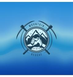 Mountain rescue vintage label vector