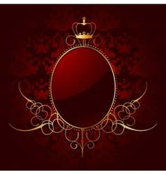 Royal red background with golden frame vector image vector image