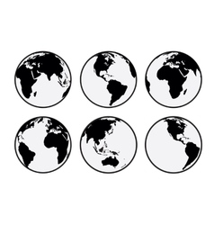 Six black and white Earth globes vector image