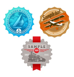 vintage labels with retro transport vector image