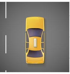 Yellow car taxi Top view vector image