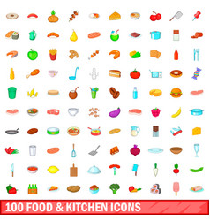 100 food and kitchen icons set cartoon style vector image