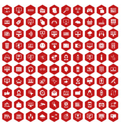 100 internet icons hexagon red vector image
