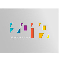 2019 happy new year card in paper style vector image
