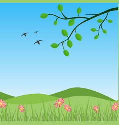 3d valley view with birds in a spring floral vector