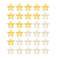5 star rating template shining 3d realistic stars vector