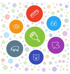 7 pork icons vector